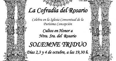 La Cofradía del Rosario celebra sus cultos